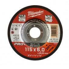 Диск шлифовальный по металлу 115мм/6мм MILWAUKEE SG 27/115