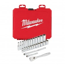 Набор метрических головок с воротком MILWAUKEE 1/4 дюйма (28 предметов)