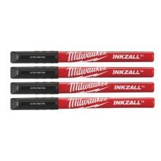 Маркеры со сверхтонким пером Milwaukee INKZALL черные (4 шт.) [48223164]